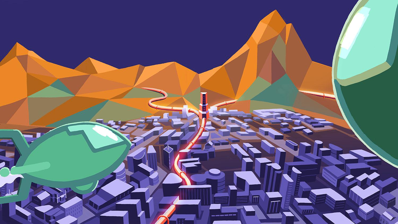 Sci-fi scene of airships over a futuristic city